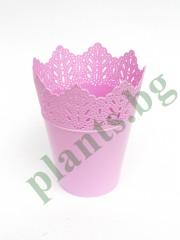 Кашпа - коронка  - розова